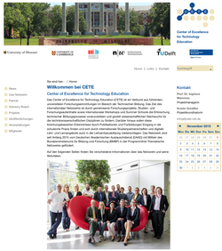 Website für CETE - Center of Excellence for Technology Education